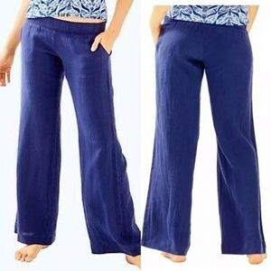 Lilly Pulitzer Navy Bal Harbour Linen Palazzo Pant